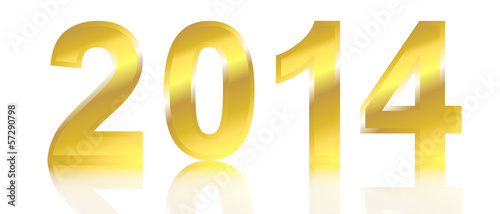 Golden 2014 with shadow on white background.