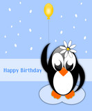 Happy birthday background with penguin with balloon