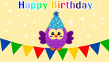 Happy birthday banner with violet owl