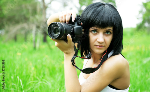 Portrait of beautiful girl , making photos