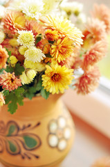 Beautiful autumn bouquet of chrysanthemums