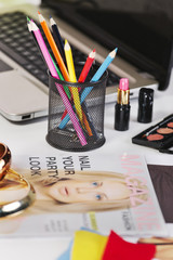 Close up of a different pencil's colour in a fashion desk.