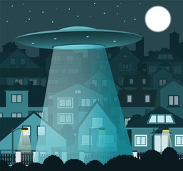UFO flying over the night city