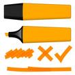 Textmarker orange mit Markierungen