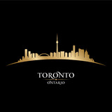 Toronto Ontario Canada city skyline silhouette black background