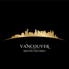 Vancouver British Columbia city skyline silhouette black backgro