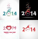 New year 2014. Set Abstract Posters