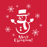 Snowman with red background