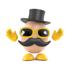 Egg with top hat and moustache