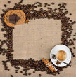 Coffee cup, cookies, chocolate and coffee beans