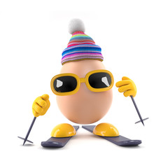 Skiing egg in bobble hat
