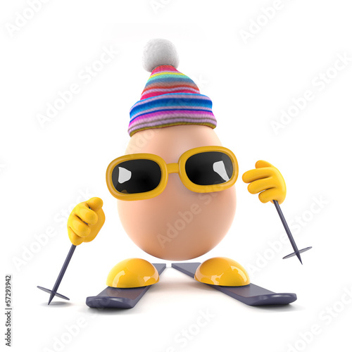 Skiing egg in bobble hat