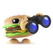 Burger watches through binoculars