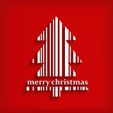 Abstract white Christmas tree barcode on red background