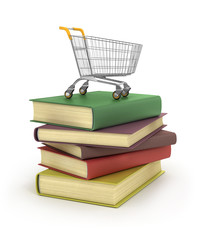 3d. Books with trolley for shopping
