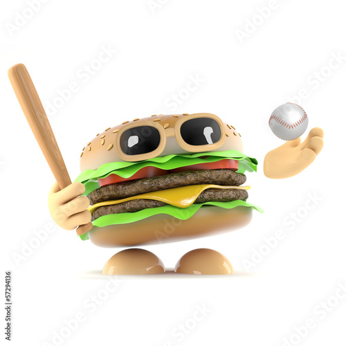 Burger plays baseball