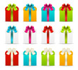 Set of gift boxes with color ribbons
