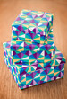 Three stack of colorful gift box on the table