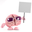 Brain holds a placard