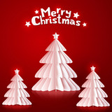 White paper Christmas trees on red background