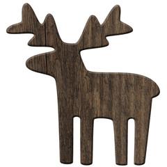 Deko-Rentier aus rustikalem, dunklen Holz – freigestellt