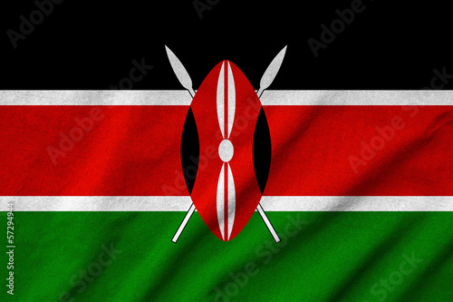 Ruffled Kenya Flag