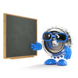 Metal cog with blackboard
