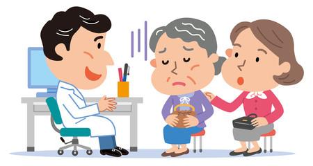 医師 高齢者 おばあさん 付き添い