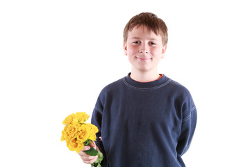 cute teen with flowers