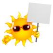 Sun holds a placard