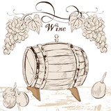 Barrel with grapes