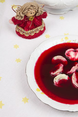 Red borsch with uszka, traditional Christmas Eve dish