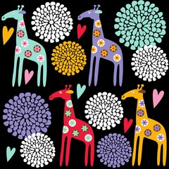 Cute giraffe seamless pattern with flowers, illustration