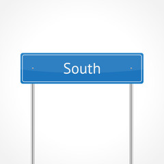 Blue south traffic sign