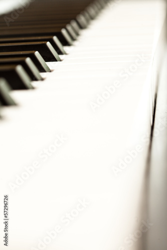 Close up of keys of a piano