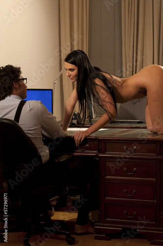 sexy nude or naked woman at the office with her manager