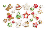 Gingerbread cookies on white background