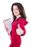 Young woman with notepad on white