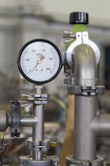 Manometer, precise instrument in nuclear laboratory, close up