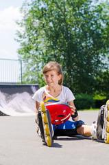 Young roller skater enjoying her summer vacation