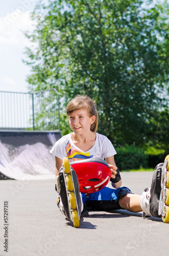 Young roller skater enjoying her summer vacation