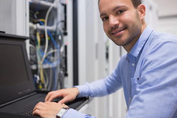 Man searching through servers