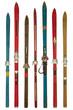 Leinwanddruck Bild - Vintage colorful used skis isolated on white