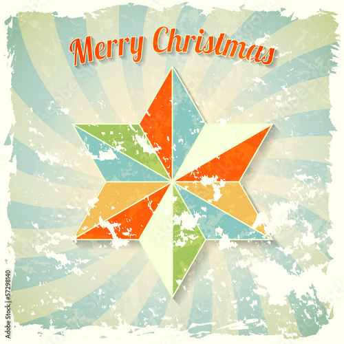 vintage christmas theme with colorful abstract star