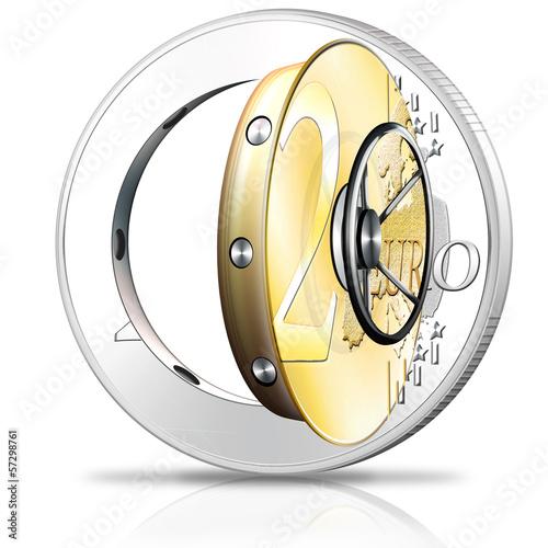 Euro Münze - Tresor, Safe 3d Symbol
