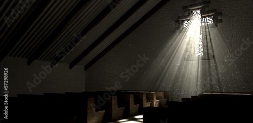 Zdjęcia na płótnie, fototapety, obrazy : Stained Glass Window Crucifix Church