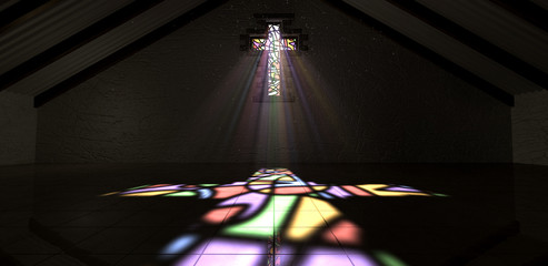 Stained Glass Window Crucifix Light Ray Color