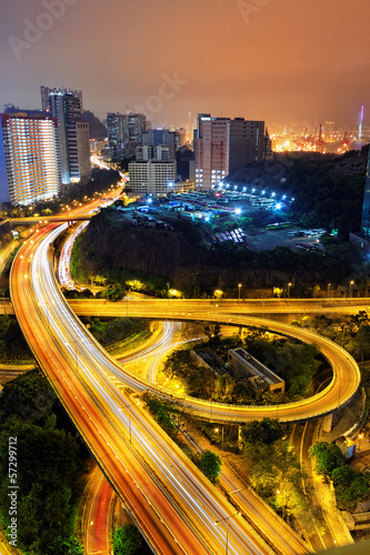 busy traffic night in finance urban