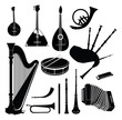 Music instruments vector set. Musical instrument silhouettes - 57299944
