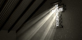 Stained Glass Window Crucifix Illuminated Light Rays